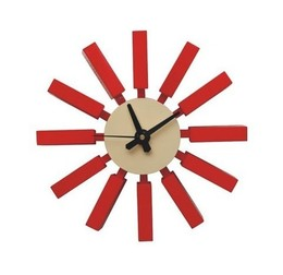 George Nelson Block Clock Red