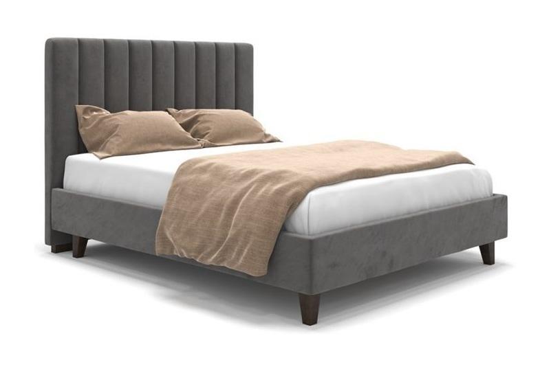 Кровать серая на ножках