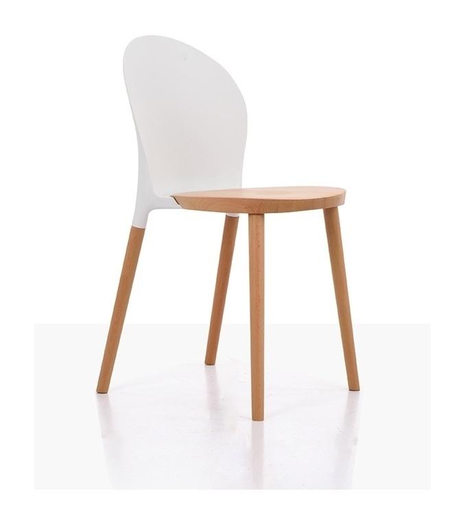Leaves Chair (белая спинка, нат. бук)